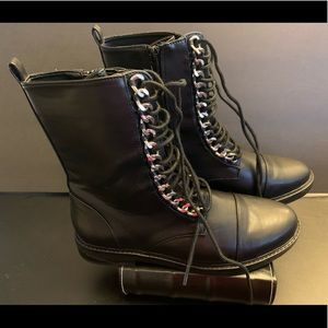 Forever 21 Shoes - Forever 21 Faux Leather Ankle Boots w/Silver